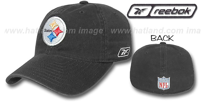 Steelers 'SLOUCH FIT' Hat by Reebok - black : pictured without stickers that these products are shipped with