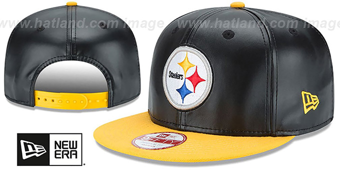 Steelers 'SMOOTHLY STATED SNAPBACK' Black-Gold Hat by New Era : pictured without stickers that these products are shipped with