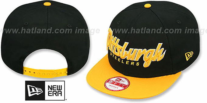 Steelers 'SNAP-IT-BACK SNAPBACK' Black-Gold Hat by New Era : pictured without stickers that these products are shipped with