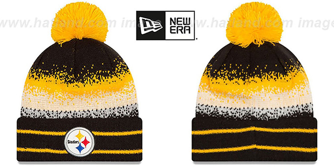Steelers 'SPEC-BLEND' Knit Beanie Hat by New Era : pictured without stickers that these products are shipped with