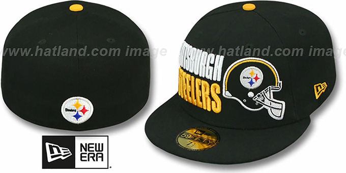 Steelers 'STACK-THE-BOX' Black Fitted Hat by New Era : pictured without stickers that these products are shipped with