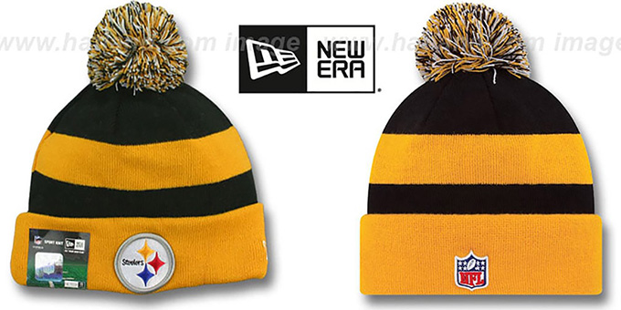 Steelers 'STADIUM' Knit Beanie Hat by New Era : pictured without stickers that these products are shipped with