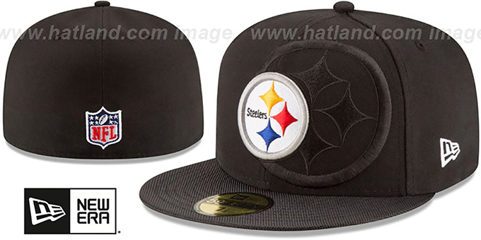 Steelers 'STADIUM SHADOW' Black Fitted Hat by New Era : pictured without stickers that these products are shipped with