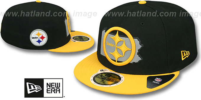 Steelers 'STATE REFLECT' Black-Gold Fitted Hat by New Era : pictured without stickers that these products are shipped with