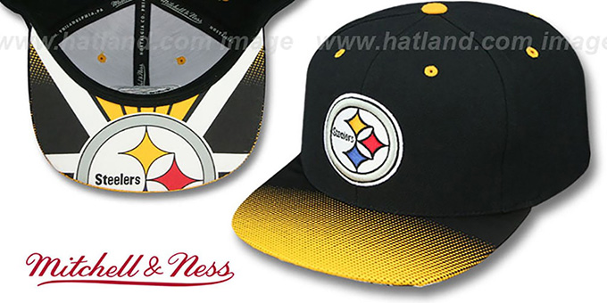 Steelers 'STOP-ON-A-DIME SNAPBACK' Black-Gold Hat by Mitchell and Ness : pictured without stickers that these products are shipped with