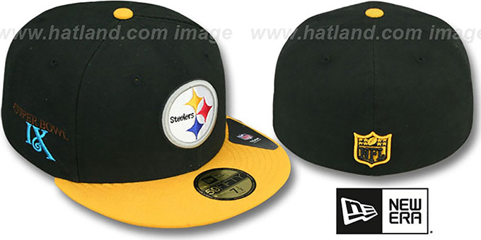 Steelers 'SUPER BOWL IX' Black-Gold Fitted Hat by New Era : pictured without stickers that these products are shipped with