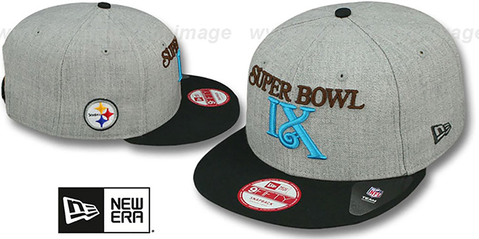 Steelers 'SUPER BOWL IX SNAPBACK' Grey-Black Hat by New Era : pictured without stickers that these products are shipped with