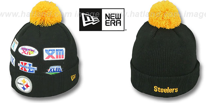 Steelers 'SUPER BOWL PATCHES' Black Knit Beanie Hat by New Era : pictured without stickers that these products are shipped with