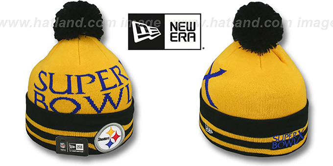 Steelers 'SUPER BOWL X' Black Knit Beanie Hat by New Era : pictured without stickers that these products are shipped with