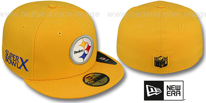 Steelers 'SUPER BOWL X' Gold Fitted Hat by New Era : pictured without stickers that these products are shipped with