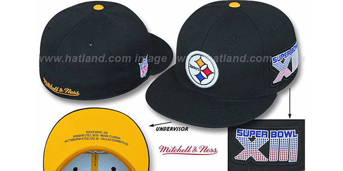 Steelers 'SUPER BOWL XIII CHAMPS' Black Fitted Hat by Mitchell & Ness : pictured without stickers that these products are shipped with