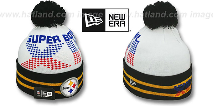 Steelers 'SUPER BOWL XIII' White Knit Beanie Hat by New Era : pictured without stickers that these products are shipped with