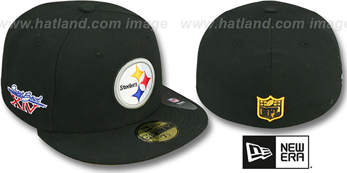 Steelers 'SUPER BOWL XIV' Black Fitted Hat by New Era : pictured without stickers that these products are shipped with