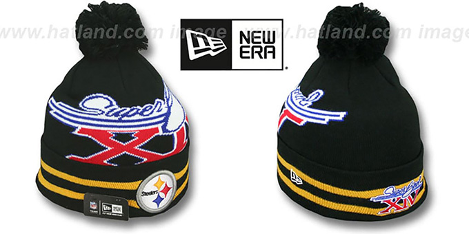 Steelers 'SUPER BOWL XIV' Black Knit Beanie Hat by New Era : pictured without stickers that these products are shipped with