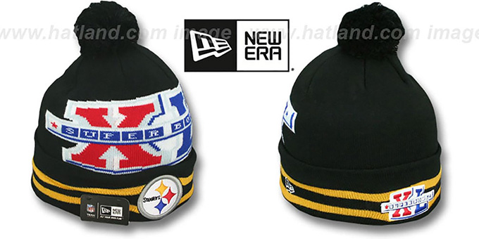 Steelers 'SUPER BOWL XL' Black Knit Beanie Hat by New Era : pictured without stickers that these products are shipped with