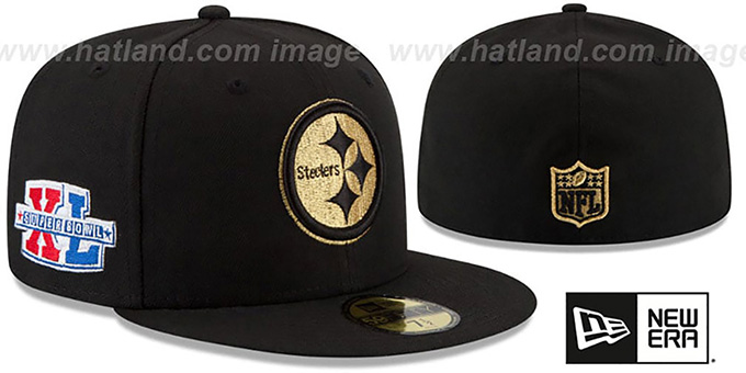 Steelers 'SUPER BOWL XL GOLD-50' Black Fitted Hat by New Era : pictured without stickers that these products are shipped with