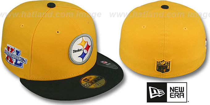 Steelers 'SUPER BOWL XL' Gold-Black Fitted Hat by New Era : pictured without stickers that these products are shipped with