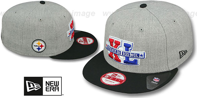 Steelers 'SUPER BOWL XL SNAPBACK' Grey-Black Hat by New Era : pictured without stickers that these products are shipped with