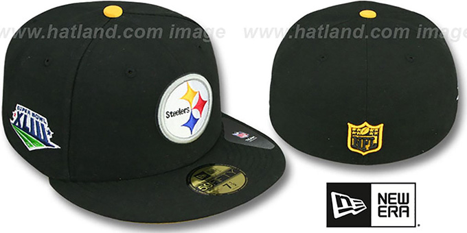 Steelers 'SUPER BOWL XLIII' Black Fitted Hat by New Era : pictured without stickers that these products are shipped with