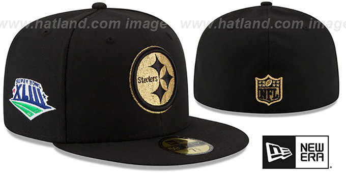 Steelers 'SUPER BOWL XLIII GOLD-50' Black Fitted Hat by New Era : pictured without stickers that these products are shipped with