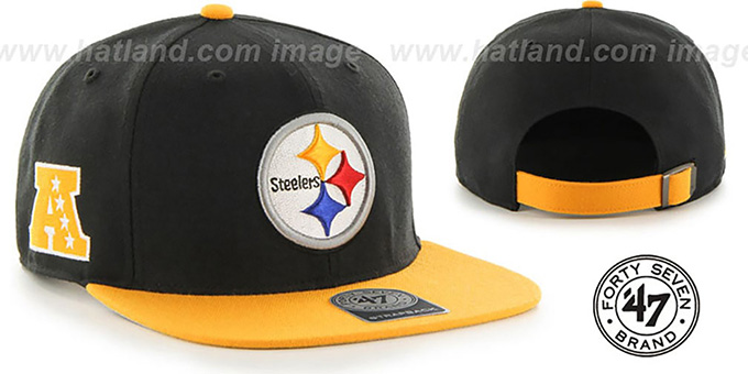 Steelers 'SUPER-SHOT STRAPBACK' Black-Gold Hat by Twins 47 Brand : pictured without stickers that these products are shipped with