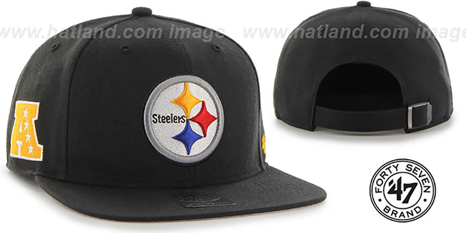 Steelers 'SUPER-SHOT STRAPBACK' Black Hat by Twins 47 Brand : pictured without stickers that these products are shipped with