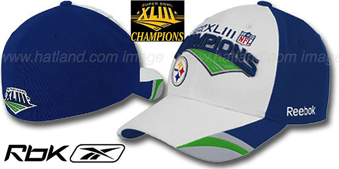 Steelers XLIII 'SUPERBOWL CHAMPS' Hat by Reebok : pictured without stickers that these products are shipped with