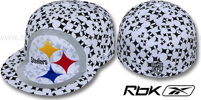 Steelers 'SUPERSIZE FLOCKING' White Fitted Hat by Reebok : pictured without stickers that these products are shipped with