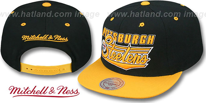 Steelers 'TAILSWEEP SNAPBACK' Black-Gold Hat by Mitchell and Ness : pictured without stickers that these products are shipped with