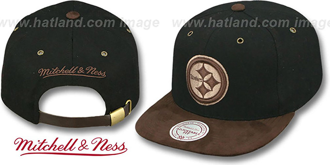 Steelers 'TC-BROWN SUEDE STRAPBACK' Hat Mitchell & Ness : pictured without stickers that these products are shipped with