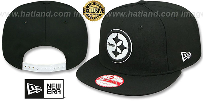 Steelers 'TEAM-BASIC SNAPBACK' Black-White Hat by New Era : pictured without stickers that these products are shipped with