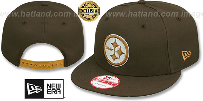 Steelers 'TEAM-BASIC SNAPBACK' Brown-Wheat Hat by New Era : pictured without stickers that these products are shipped with