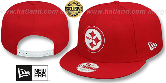 Steelers 'TEAM-BASIC SNAPBACK' Red-White Hat by New Era : pictured without stickers that these products are shipped with