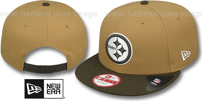 Steelers 'TEAM-BASIC SNAPBACK' Wheat-Brown Hat by New Era : pictured without stickers that these products are shipped with