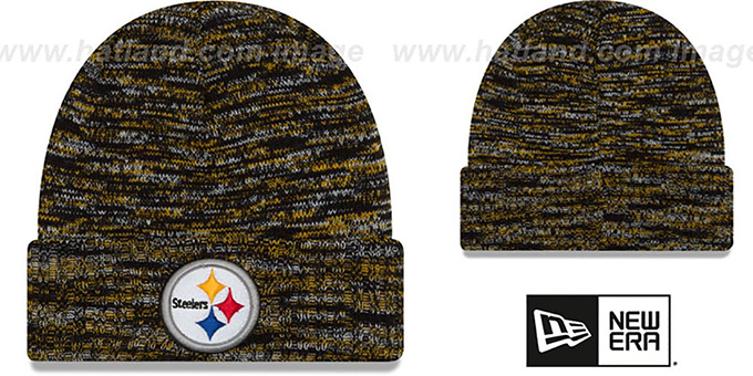 Steelers 'TEAM-CRAZE' Black-Gold Knit Beanie Hat by New Era : pictured without stickers that these products are shipped with