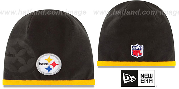 Steelers 'TECH-KNIT STADIUM' Black-Gold Knit Beanie Hat by New Era : pictured without stickers that these products are shipped with
