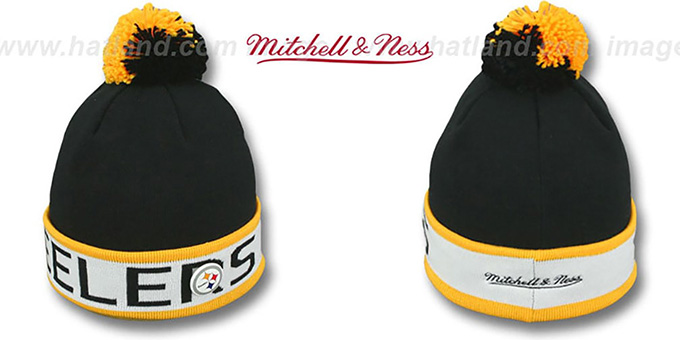 Steelers 'THE-BUTTON' Knit Beanie Hat by Michell and Ness : pictured without stickers that these products are shipped with