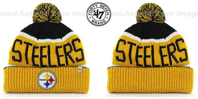 Steelers 'THE-CALGARY' Gold-Black Knit Beanie Hat by Twins 47 Brand : pictured without stickers that these products are shipped with