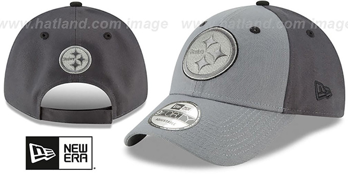 Steelers 'THE-LEAGUE GREY-POP STRAPBACK' Hat by New Era : pictured without stickers that these products are shipped with