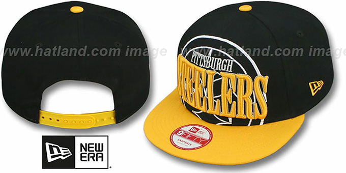 Steelers 'THROUGH SNAPBACK' Black-Gold Hat by New Era : pictured without stickers that these products are shipped with