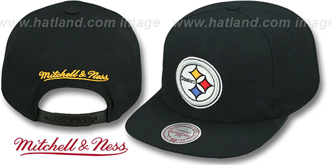 Steelers 'THROWBACK-BASIC SNAPBACK' Black Hat by Mitchell and Ness : pictured without stickers that these products are shipped with