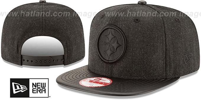Steelers 'THROWBACK LEATHER-MATCH SNAPBACK' Black Hat by New Era : pictured without stickers that these products are shipped with