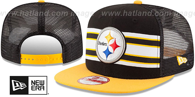 Steelers 'THROWBACK-STRIPE SNAPBACK' Black-Gold Hat by New Era : pictured without stickers that these products are shipped with