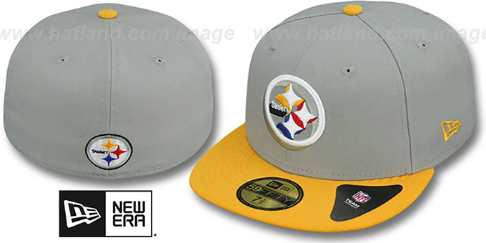 Steelers 'TRACE-POP' Grey-Gold Fitted Hat by New Era : pictured without stickers that these products are shipped with