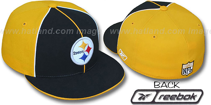 Steelers 'TRI PIPING PINWHEEL' Black Gold Fitted Hat by Reebok : pictured without stickers that these products are shipped with