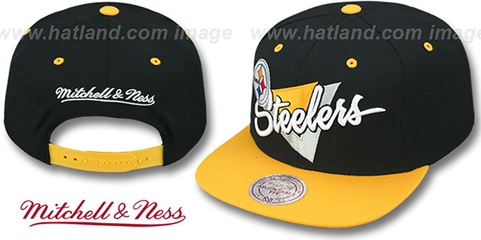 Steelers 'TRIANGLE-SCRIPT SNAPBACK' Black-Gold Hat by Mitchell and Ness : pictured without stickers that these products are shipped with