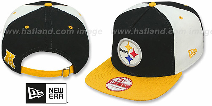 Steelers 'TRIPLE MELTON STRAPBACK' Black-White-Gold Hat by New Era : pictured without stickers that these products are shipped with
