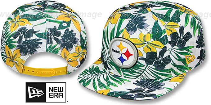 Steelers 'TROPTRIP BLOOM SNAPBACK' Hat by New Era : pictured without stickers that these products are shipped with