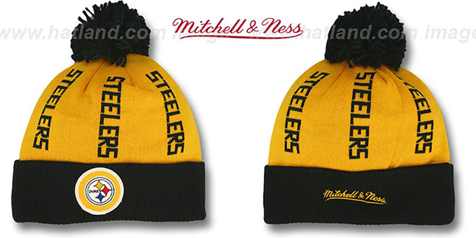 Steelers 'VERTICAL WORD BEANIE' Gold-Black by Mitchell and Ness : pictured without stickers that these products are shipped with
