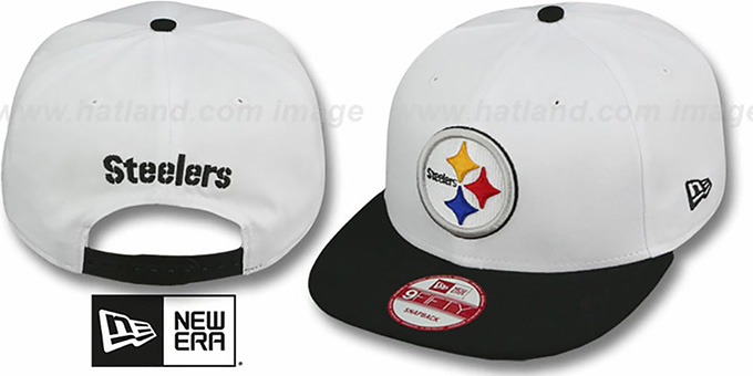 Steelers 'WHITETOP SNAPBACK' White-Black Hat by New Era : pictured without stickers that these products are shipped with